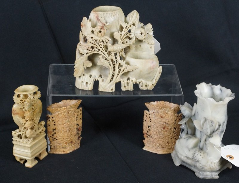 LOT OF FIVE CARVED CHINESE SOAPSTONE PIECES
