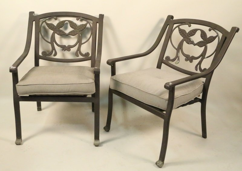 SET OF FOUR CAST METAL PATIO ARMCHAIRS