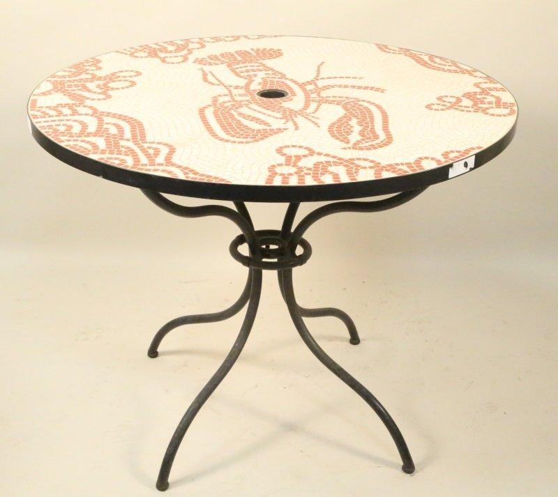 MOSAIC INLAID GARDEN TABLE ON IRON BASE