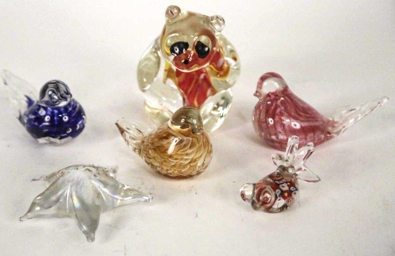 LOT OF SIX ART GLASS ANIMAL FIGURINES