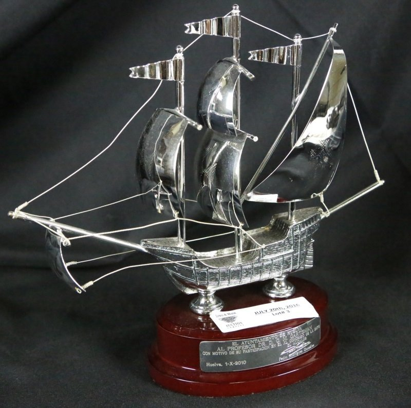 SILVERED METAL MODEL SHIP