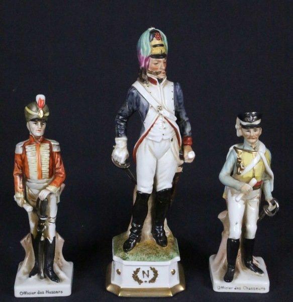 LOT THREE CAPODIMONTE NAPOLEONIC SOLDIER FIGURINES