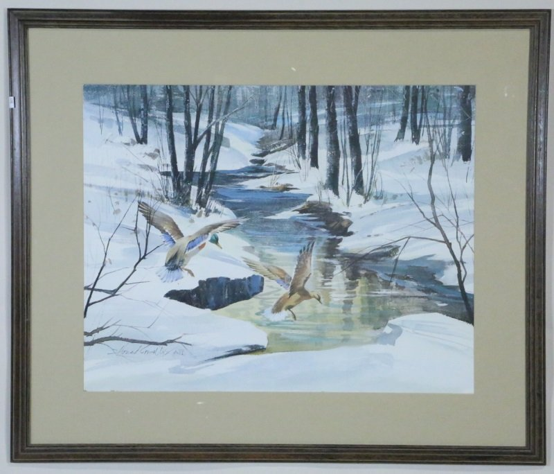 """HOWARD CONNELLY """"WINTER DUCKS"""" PRINT, AWS"""