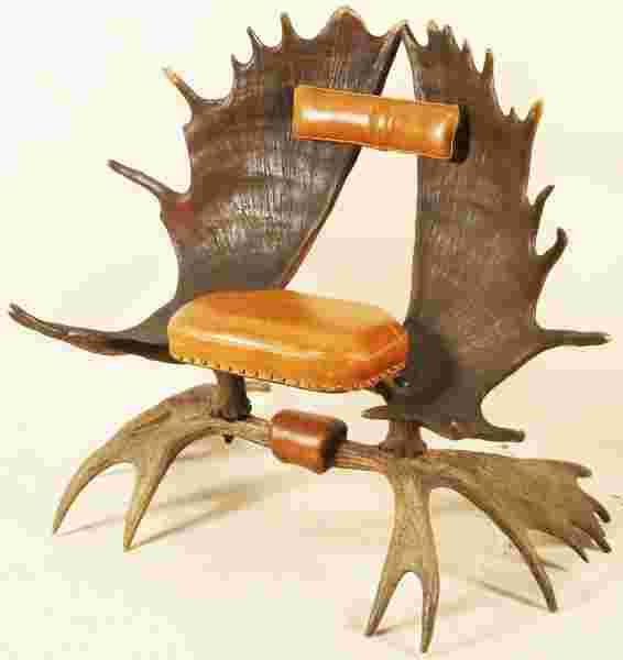 Executive Auto Shippers >> VINTAGE MOOSE HORN CHAIR WITH LEATHER SEAT & BACK