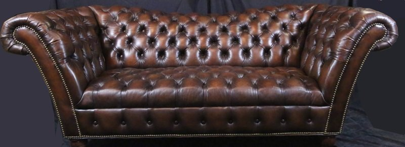 BUTTON-TUFTED BROWN LEATHER SOFA