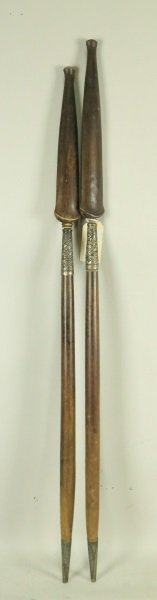 PAIR OF WOODEN SPEARS