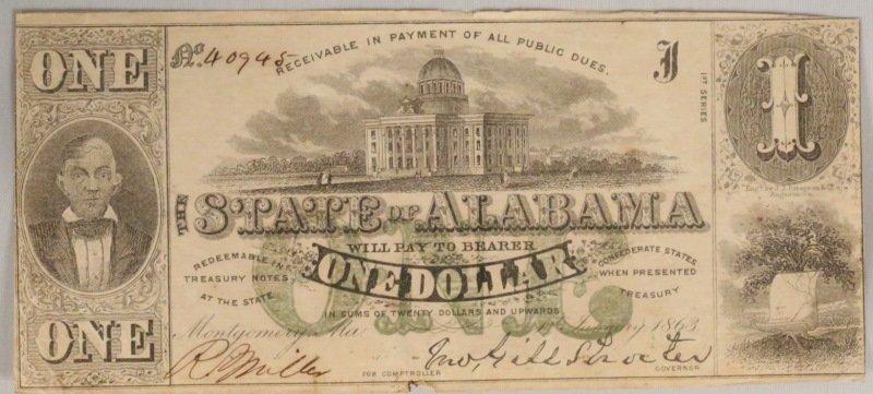 1863 STATE OF ALABAMA ONE DOLLAR BILL