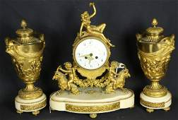 19th CENTURY FRENCH GILT BRONZE MANTLE CLOCK SET