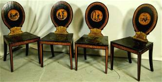 SET OF FOUR ENGLISH REGENCY HALL CHAIRS