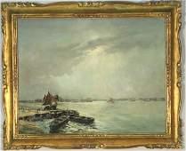 19th C EUGENE BOUDIN HARBOR SCENE OIL PAINTING