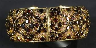 GOLD WASH OVER S.S. GARNET EMBELLISHED BANGLE BRACELET
