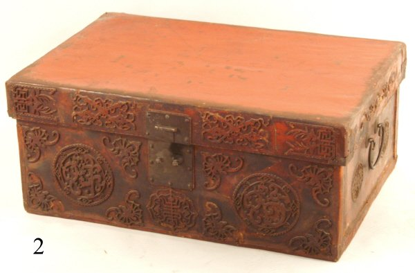 "2: RED LEATHER TRUNK WITH IRON FITTINGS, 31""x20""x13""H"