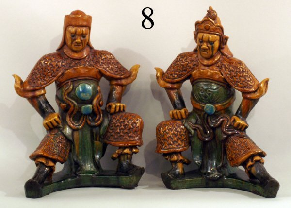 "8: PAIR OF ANTIQUE WARRIOR ROOF TILES, 18""H"