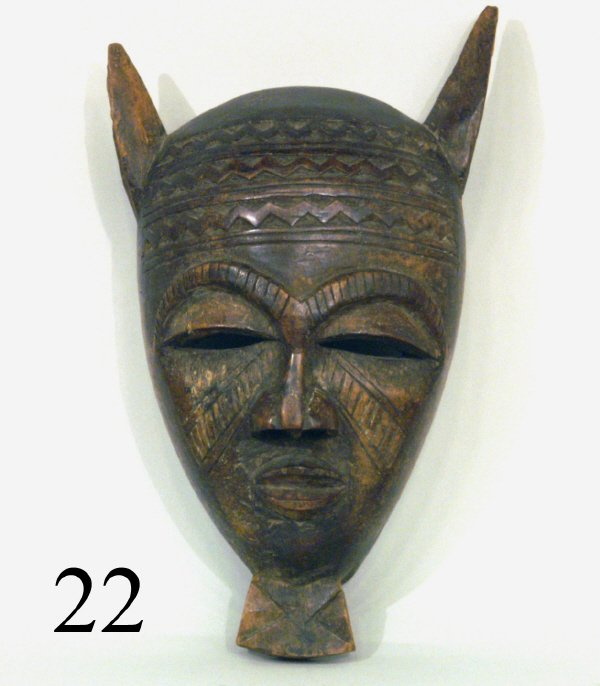 22: WOOD CARVED AFRICAN MASK