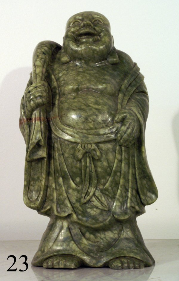 "23: LARGE CARVED GREEN SOAPSTONE FIGURE OF BUDDHA, 20""H"