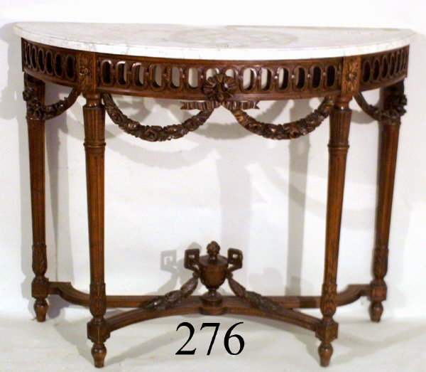 276: FRENCH CONSOLE WITH CARVED WOOD BASE AND WHITE MAR