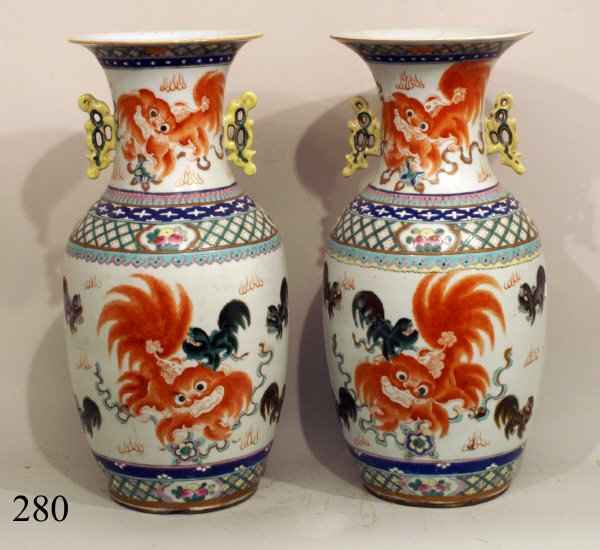 280: PAIR ANTIQUE CHINESE VASES WITH FOO DOGS, 17""