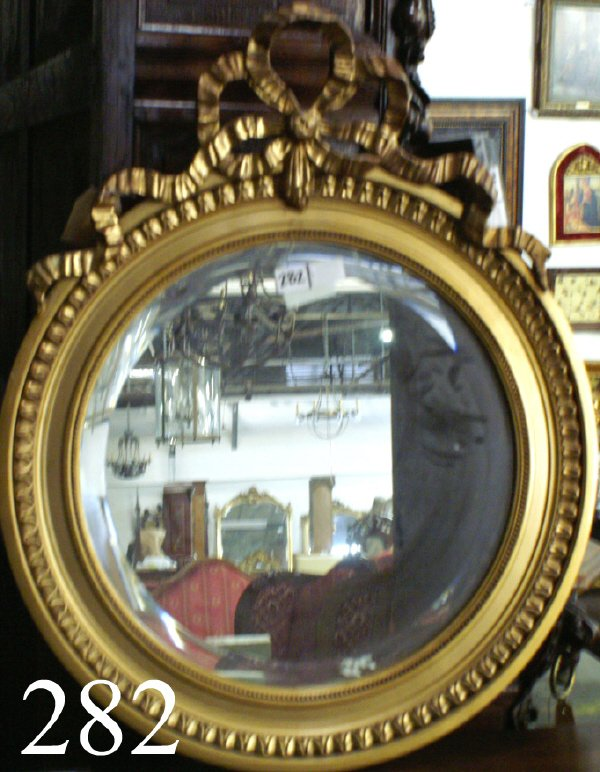 282: ROUND GILT BEVEL MIRROR WITH A RIBBON CARTOUCHE, 3
