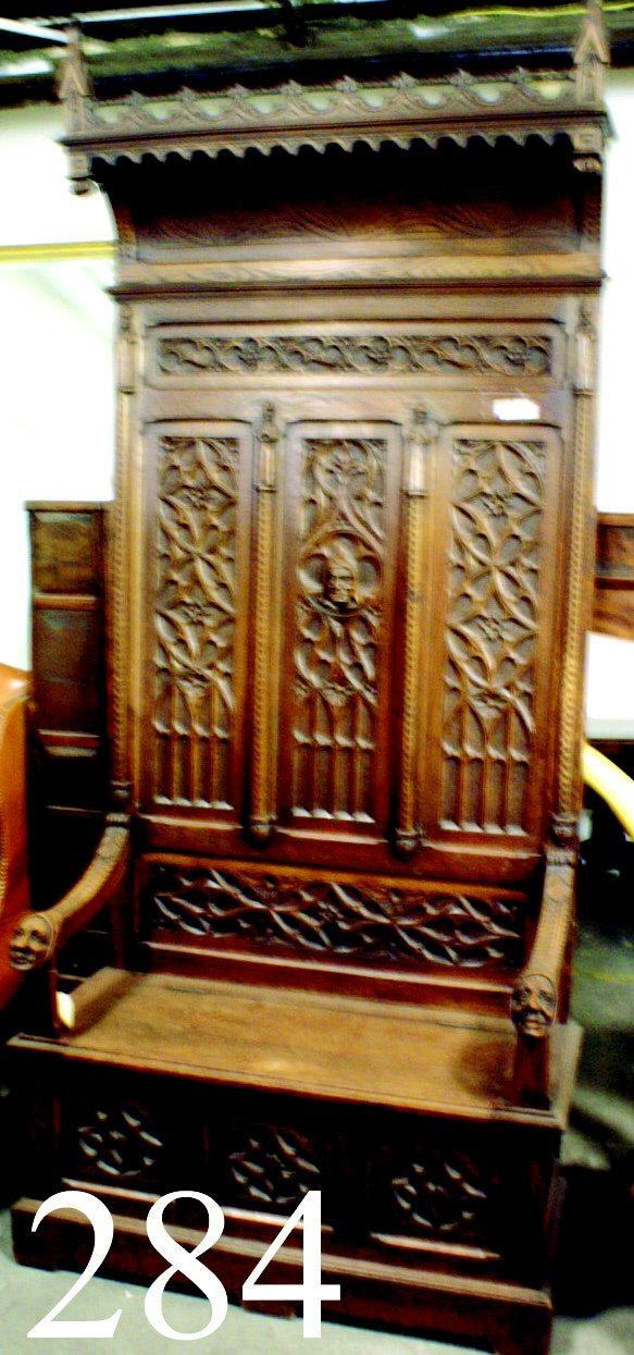 284: CARVED HALL BENCH WITH TRUNK, GOTHIC STYLE, CIRCA