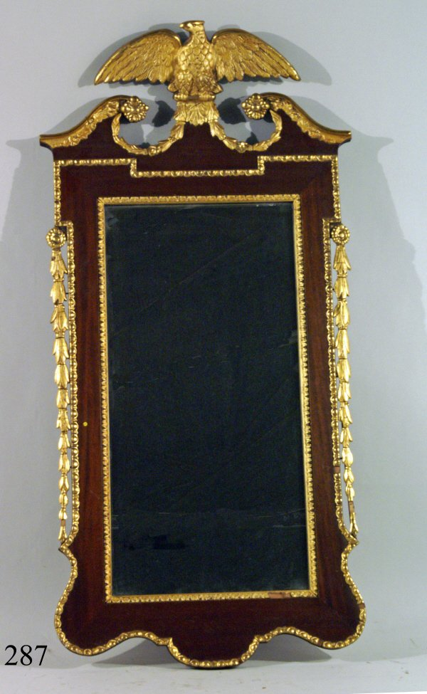 "287: CHIPPENDALE MIRROR WITH EAGLE, 22""x44"""