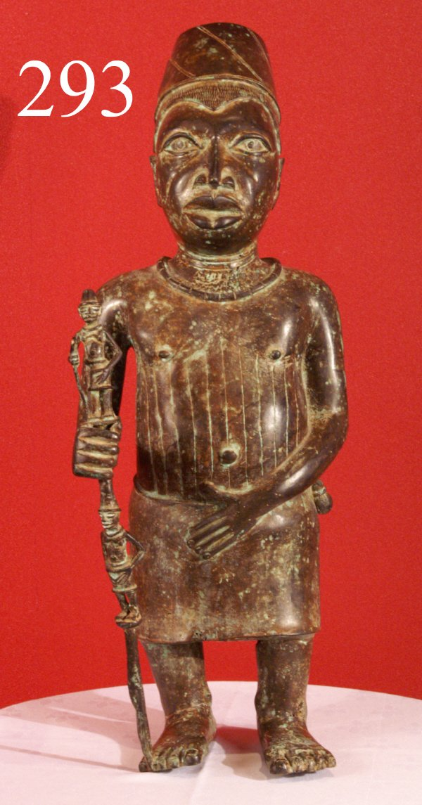 "293: AFRICAN ART, ""Royal Staff,"" Sculpture from Benin,"