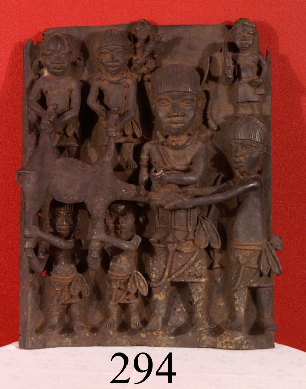 "294: AFRICAN ""PALACE PLAQUE"",  7 MEN CELEBRATING THE KI"