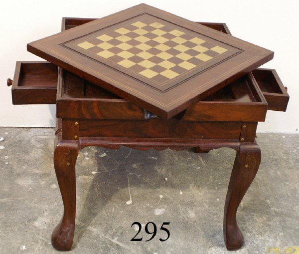 295: CHESS AND BACKGAMMON GAME TABLE , BRASS INLAY, 20""