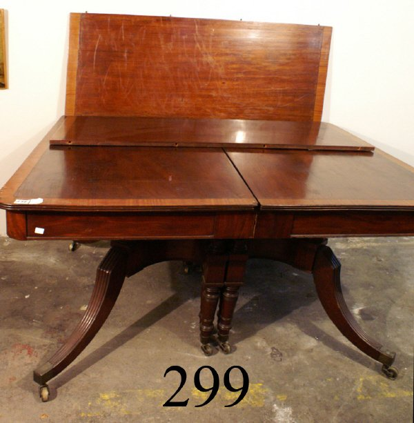 299: ENGLISH DOUBLE PEDESTAL DINING TABLE WITH SUPPORT