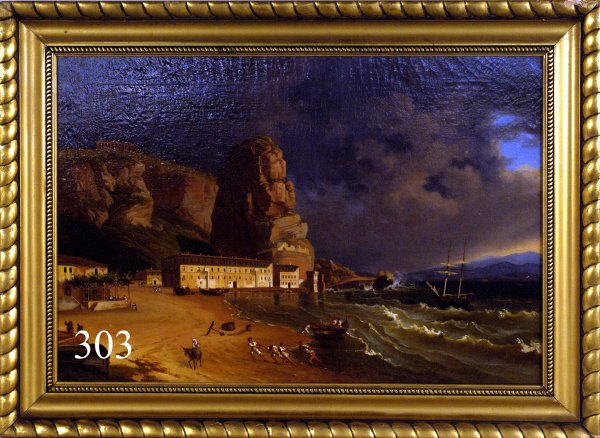 303: NAPOLI COAST (1781-1835)  signed lower left, oil