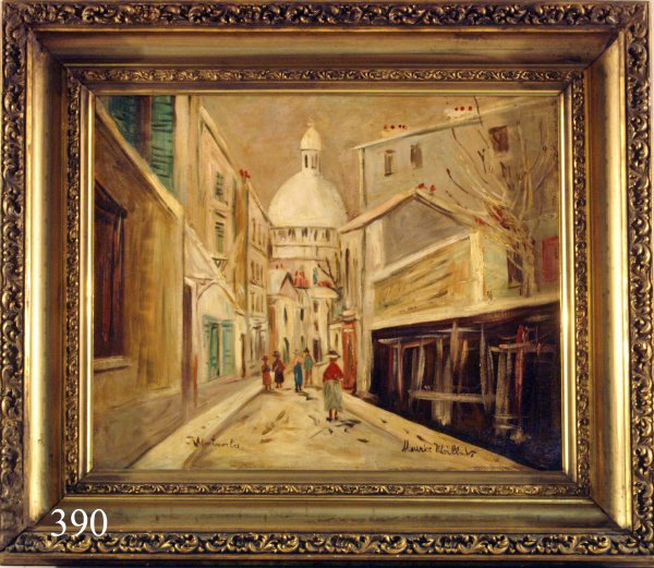 "390: MAURICE UTRILLO Oil on Canvas , ""Montmarta"" Signed"