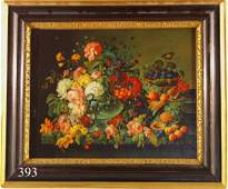 393 OIL ON CANVAS FLORAL STILL LIFE WITH BASKET AND P