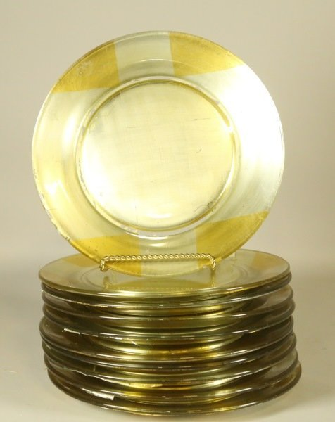 SET OF TEN GLASS GOLD CHARGERS