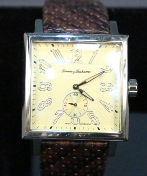 MEN'S TOMMY BAHAMA TANK WATCH WITH GENUINE LEATHER