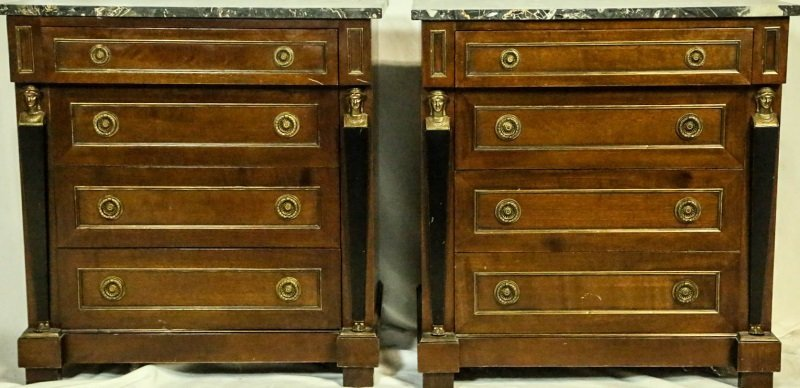 PAIR OF EMPIRE STYLE MARBLE TOP BEDSIDE CHESTS
