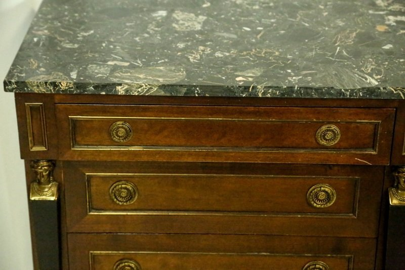 PAIR OF EMPIRE STYLE MARBLE TOP BEDSIDE CHESTS - 3