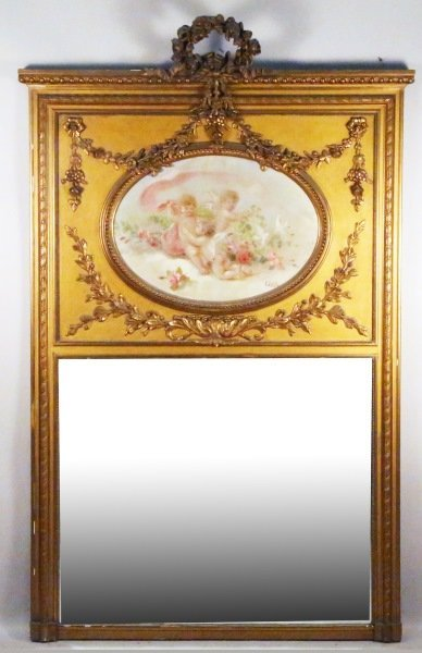 19th CENTURY CARVED & GILDED TRUMEAU MIRROR