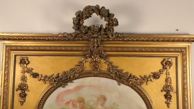19th CENTURY CARVED & GILDED TRUMEAU MIRROR - 3