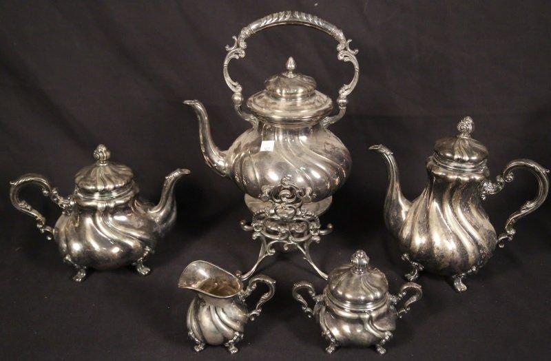 FIVE-PIECE COIN GRADE SILVER TEA SET