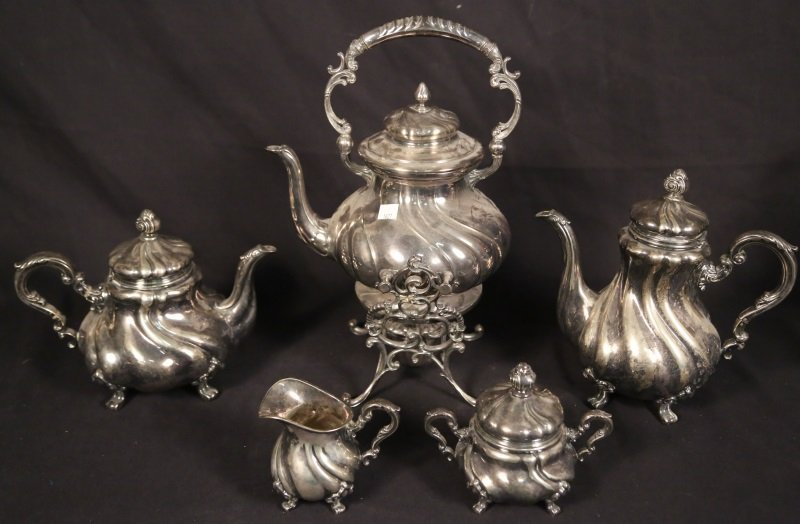 FIVE-PIECE COIN GRADE SILVER TEA SET