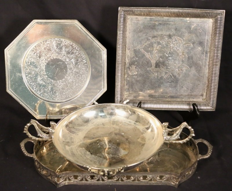 FOUR PIECE SILVER PLATED BOWL & TRAYS