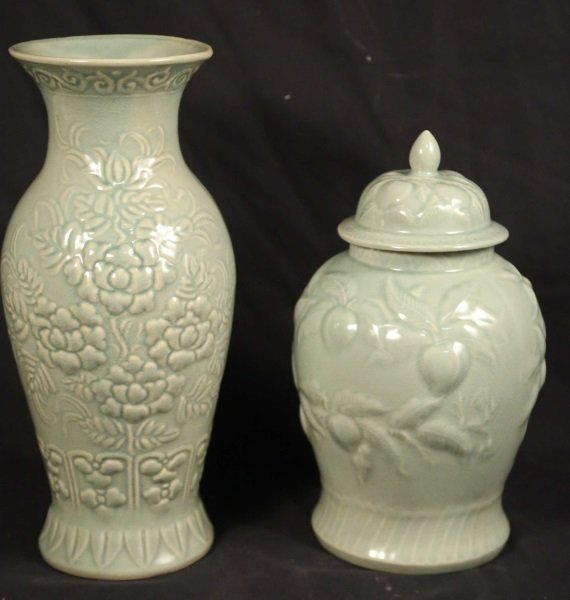 ASIAN CELEDON GLAZE PORCELAIN VASE & LIDDED URN