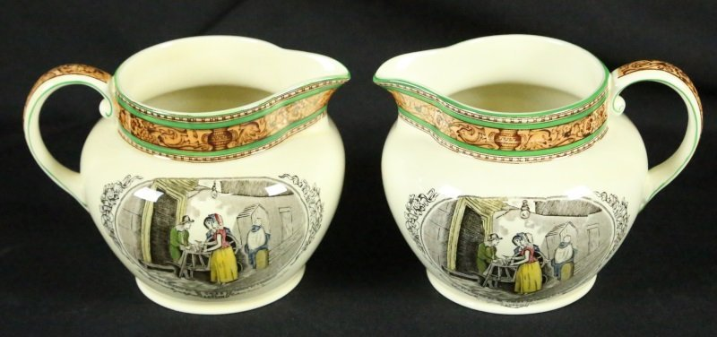 PAIR OF CIRCA 1900's ADAM'S WEDGWOOD MILK JUGS