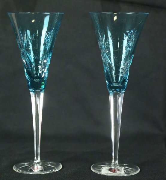 PAIR OF WATERFORD SNOW CRYSTAL AQUA FLUTES