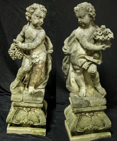 PAIR OF 19th CENTURY SHELL CRETE PUTTI SCULPTURES