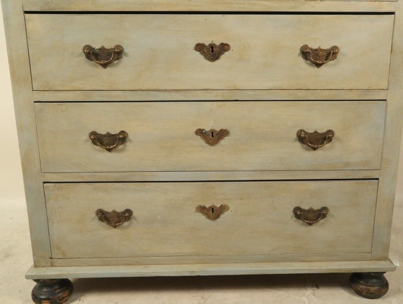 19th CENTURY GERMAN PAINTED CHEST OF DRAWERS - 5