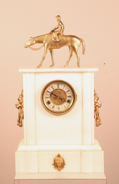 CIRCA 1900 FRENCH MARBLE CLOCK WITH GILT BRONZE