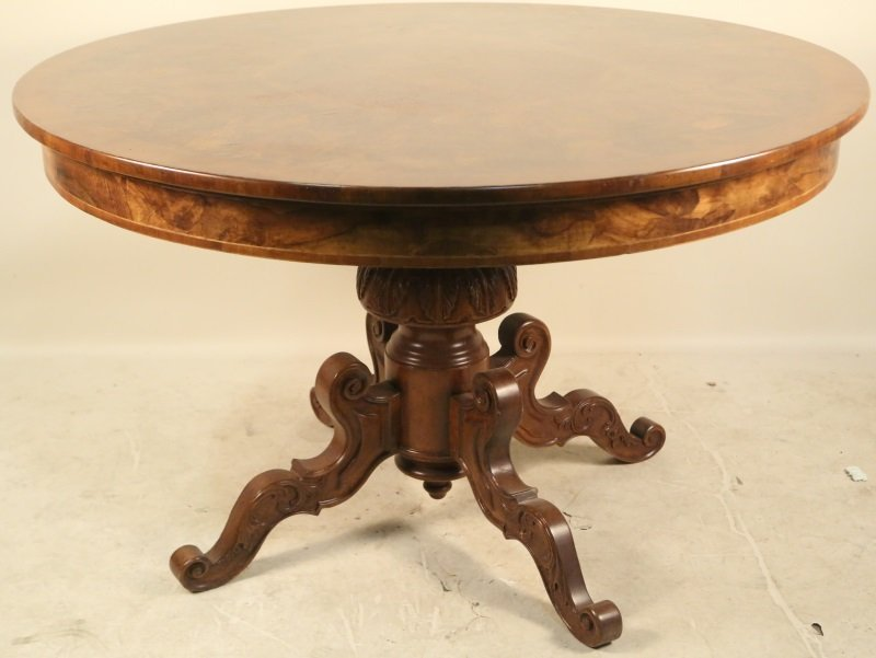 ITALIAN WALNUT INLAID PEDESTAL CENTER TABLE - 2