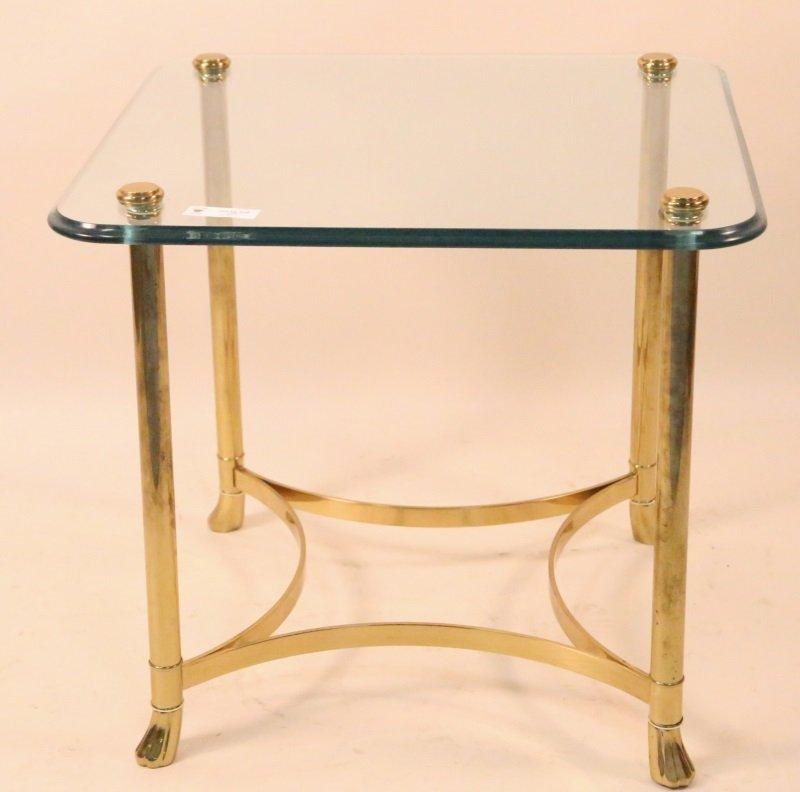 GLASS TOP GILT METAL BASE END TABLE - 2