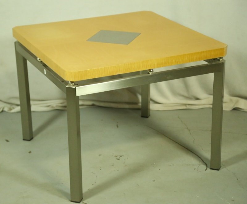 CONTEMPORARY METAL & WOOD END TABLE