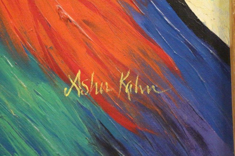 "ASHIA KHAN ""SEATED WOMAN"" OIL ON CANVAS - 3"